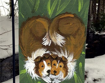 """Sable Sheltie """"Little Sweethearts"""" Autumn"""" 12"""" by 18"""" GARDEN FLAG by Amy Bolin"""