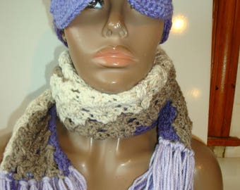 Purple Blend Newsboy Cap - Hat and Neckwarmer - Crochet Hat set