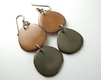 Brown and Gray Tagua Nut Eco Friendly Earrings with Free USA Shipping #taguanut #ecofriendlyjewelry