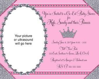 Baby Shower Silver Sparkles Diamonds Invitations Digital Design