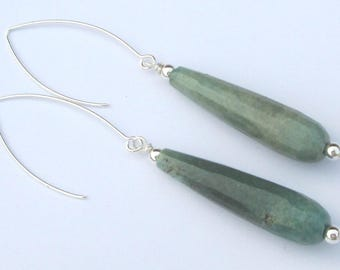 Chrysoprase Pierced Earrings Faceted Tear Drop Green Earrings  hand made Gift For Her affordable unique  earrings
