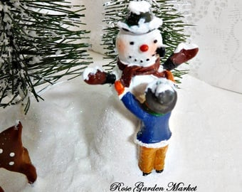 Winter Snowy Days Scene Building a Snowman in the Country, Cloche Filler Decor, Hand Painted, Christmas Display, Winter Decor, ECS