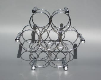 1970s Chrome Faux Bamboo Wine Rack Holds 7 Bottles