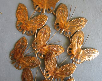 MCM Butterfly Vintage Copper Brass Metal Wall Sculpture Pierced