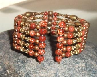 Copper-Brass-Goldstone-Swarovski Crystal-Cuff-Bracelet / Free US Shipping