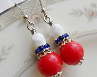 75% Off Sale, Fourth of July, Red, White, and Blue, Czech Glass,Rhinestone and Vintage Bead Earrings
