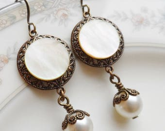 Antique Mother of Pearl Button Earrings, Harvest Moon, Off White, Ivory, Antique Brass