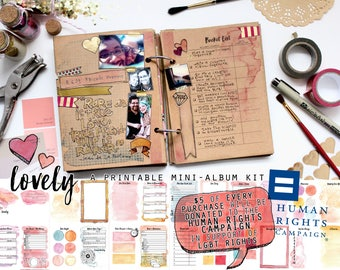 Lovely - Printable Mini-Album Kit - Instant Download - Romantic Art Journal/Photo Album Kit - DONATE to Human Rights Campaign - LGBT charity