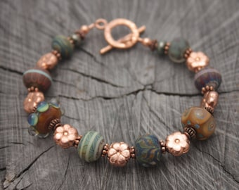 Copper Flower Lampwork Bracelet Earth Tones