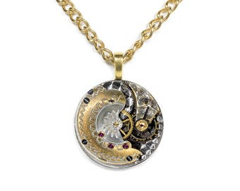 Steampunk Jewelry Necklace Vintage SETH THOMAS Two Tone Gold and Silver Guilloche Etched Pocket Watch Holiday Gift Men Women - by edmdesigns