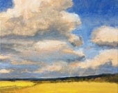 Landscape Painting Fields Original Painting on Canvas 8x8 Summer Prairie Southwest Sky Clouds