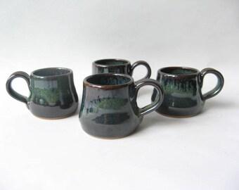 Pottery Espresso Cups Set of 4, Set of Demitasse, Stoneware Espresso Cups, Ceramic Espresso Cups
