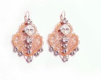 50%OFF Rose Gold Earrings Swarovski Crystal Earrings Dangle Wedding Earrings Wedding Jewelry Rose Gold Jewelry Bridal earrings