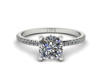 """Diamond Engagement Ring Semi Mount - 6mm Square Cushion """"Lola"""" Solitaire Ring by Laurie Sarah - add the center stone of your dreams - LS5133"""
