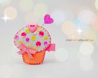 Cupcake hair Clip,Handmade Glitter and Felt Cupcake hair clip, Cupcake barrette, Cupcake brooch pin Handmade Felt Free UK Postage
