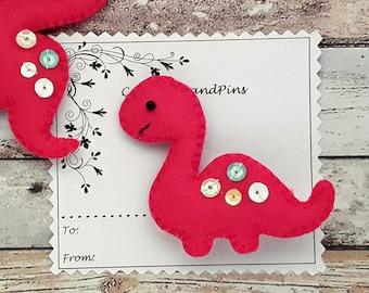 Hair Clips Pink dinosaur hair clip or hair tie, handmade padded dinosaur, dinosaur barrette, dinosaur ponytail holder, dinosaur bobbles