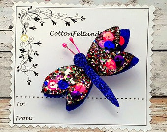 Blue Dragonfly hair Clip, Handmade Glitter and sequin and Felt Blue Dragonfly Barrette, hair slide, dragonfly brooch pin, Single/Pairs