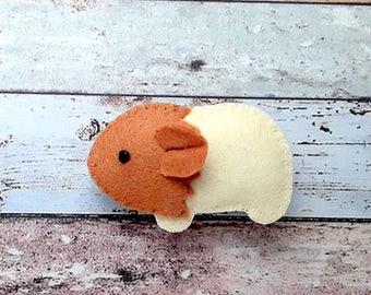 Guinea Pig hair Clip Handmade Felt padded Guinea pig hair clip,guinea pig barrette, guinea pig hair slide