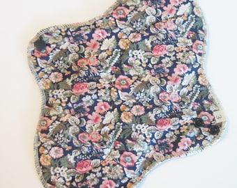 Mama Cloth Pad - Vintage Flower Printed HEAVY Cloth Mama Pad Postpartum  .. 10 inch FREE SHIPPING