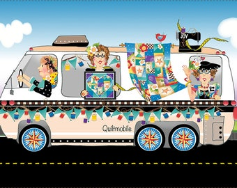 "Quiltmobile 6"" x 12"" Fabric Art Panel"