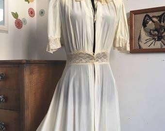 1940's Dressing Gown, Vintage Lingerie Peignoir Robe, Satin and Lace Boudoir