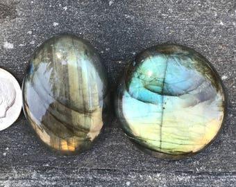 Blue Flash Labradorite, Blue and Green  Gemstones Lot of 4