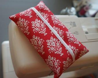 Tissue Holder - Dark Pink Damask