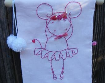 Patchwork Embroidery Pink Mouse Ballerina Embroidery  Banner Flag Decor with pompoms