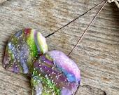 LARGE ORGANIC PETAL Headpins - Handmade Lampwork Glass Headpins - 2 Headpins - Earring Pair - #1