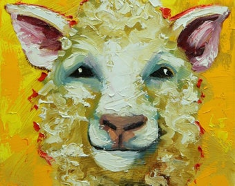Sheep painting 32 12x12 inch original oil painting by Roz