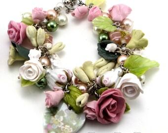 Broken China Bracelet  Pink Rose Bracelet  Bridal Bracelet  Broken China Bracelet  Flower Bracelet Lampwork Bracelet Pink Rose Bracelet