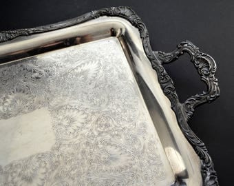 LARGE Rogers Ornate Serving Tray with Handles {Vintage Silver Plated Butler Tray Serving Platter Silverplated Cocktail Tray Ornate Engraved}
