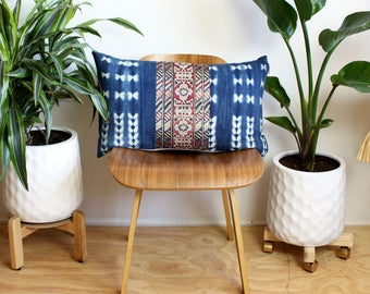 Kilim Pattern Velvet, Vintage Indigo Tie Dye, Kilim Pillow Cover, Lumbar Pillow, 16x26, Rose Gold, Bohemian Decor, Tie Dye Pillow, Boho Home