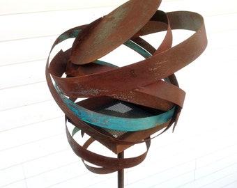 Sculptural Steel & Copper Bird Feeder No. 364 - Freestanding unique modern bird feeder