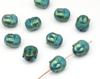 10 pcs green blue iris Buddha head beads, small matte coated hematite semiprecious stone 10mm