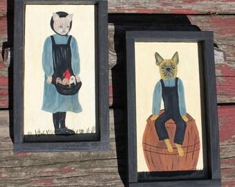Country Folk Cat & French Bulldog Pug Dog Art Paintings - Cat w apron of Birds, Cardinal - Framed n Bonded Pair - Amish Farm Primitive