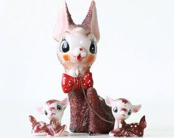 Vintage Reindeer Figurine, Anart, Rudolph with Baby Reindeer