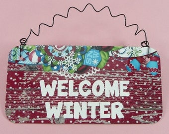 WINTER SIGN Cute Welcome Winter Christmas Home Decor Metal Snow Seasonal Door Table Wreath Decoration Gift Giving Snowflakes
