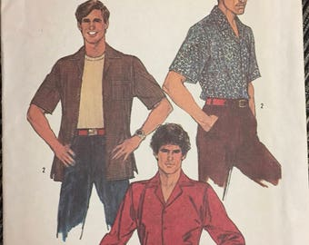 Men's Shirts Sewing Pattern Chest 38 inches Simplicity 6630 Neckband 15  inches Complete UNCUT
