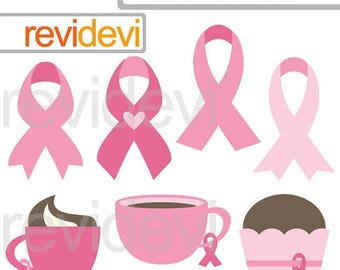 35% OFF SALE Awareness pink ribbon clipart - Breast cancer awareness digital clip art - Pink ribbon day clipart - instant download