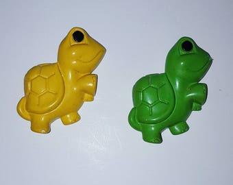 Pair of Vintage Miller Studio Green and Yellow Chalkware Turtles