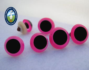 6 PAIR Pink Neon Safety Eyes 15mm or 18mm Teddy Bears, Dolls, Puppets, Monsters, Fantasy, Softies, Plush Animals, Sewing, Crochet ( NPE-1)