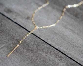 Gold Bar Lariat Necklace , Modern Layering Necklace in Gold , Rose Gold , Sterling Silver , Boho Y Necklace , Minimalist Gifts