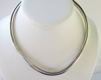 Taxco Mexico Sterling Silver Collar Necklace - Great for Pendants  - 44 Grams  1588C