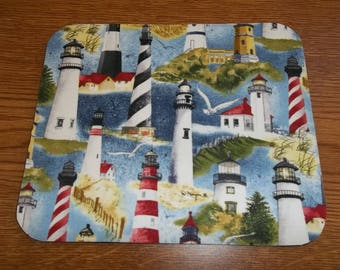 Mouse Pad, Lighthouse, Mouse Pads, Desk Accessory, Office Decor, Handmade, Gift, MousePad, Rectangle, Mouse Mat, Computer Mouse Pad, Blue