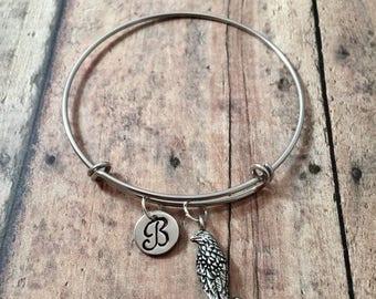 Falcon initial bangle - falcon jewelry, kestrel bangle, falcon pendant, bird of prey jewelry, falcon bracelet, silver falcon bangle