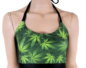 Black Green Pot Leaf Rave Festival Halter Top - All Sizes - MTCoffinz