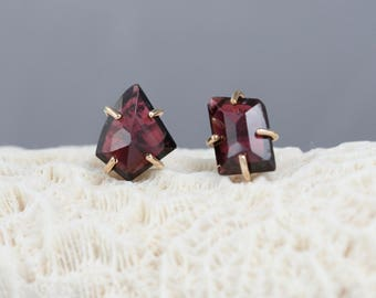 garnets stud earrings, freeform garnet, rose cut garnet, deep red garnet earrings, Rachel Wilder Handmade Jewelry