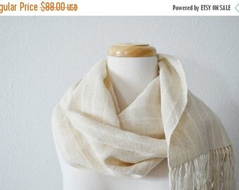 First Fall Sale - 15% Off Organic Scarf Handwoven with Fringe in Cotton & Hemp - Boho Scarf for All Seasons in Natural Eggshell White