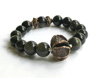 Obsidian and Antiqued Bronze Bohochic Minimalist Beaded  Bracelet  for Her Under 190 One of a Kind US Free Shipping Gift Wrap